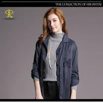 玄太-休閒純色高領柔感百搭條紋針織上衣(灰)