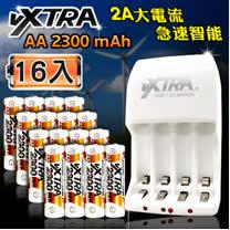 VXTRA 新經濟型2A大電流急速智能充電器+3號高容量2300mAh低自放電池(16顆入)