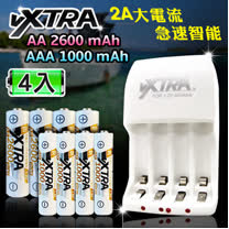 VXTRA 新經濟型2A大電流急速智能充電器+3號2600mAh低自放電池+4號高容量1000mAh低自放電池(各4顆入)