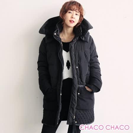 【預購CHACO韓國】正韓 N9 異材拼接羊糕毛大連帽寬鬆超保暖羽絨中長款大衣外套