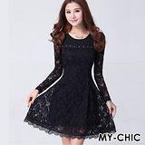 【預購MY-CHIC】韓系 優雅美麗緹花簍空蕾絲長袖洋裝連身裙(黑色)