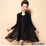 【預購MY-CHIC】韓系 高雅歐根紗罩衫式立體繡花長袖洋裝連身裙(黑色)