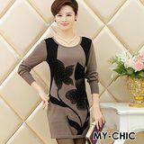 【預購MY-CHIC】韓系 時尚優雅花朵圖騰質感羊毛絨針織長袖連身裙(2色)