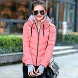 【預購MY-CHIC】韓系 亮眼保暖雙立領袖套設計羽絨棉外套(3色)