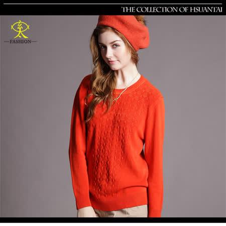 玄太-簡約造型織紋百搭針織上衣(橘)