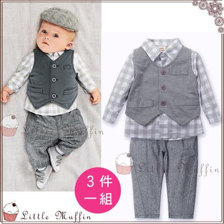 歐美 背心+長袖格紋襯衫+長褲 三件組小西裝套裝
