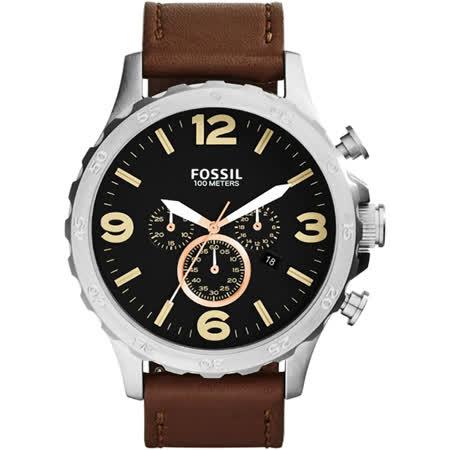 FOSSIL 大世紀戰神三眼計時腕錶-黑x咖啡/50mm JR1475