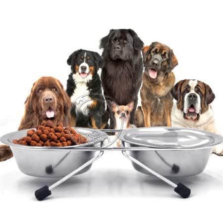 狗體工學專用》Dyy寵物犬貓不銹鋼食碗雙碗(附支架)13cm預防脊椎側彎