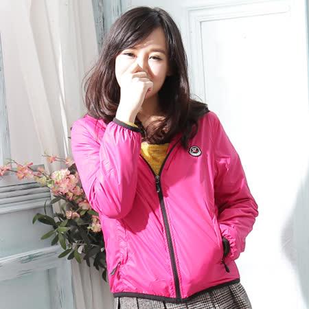 【Stoney.ax】韓版新款輕薄別緻連帽北極絨休閒外套-桃紅