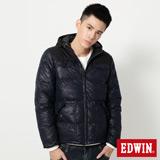 EDWIN 迷彩拼接羽絨外套-男-丈青色