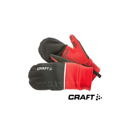 【瑞典 Craft】 HYBRID WEATHER 2in1防風觸控手套(附防潑水護指套)/亮紅 1903014