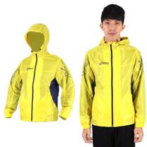 (男) ASICS 風衣外套- 連帽外套 路跑 慢跑 亞瑟士 黃黑