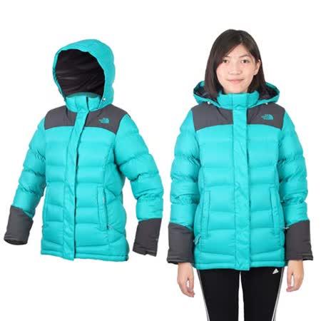 (女) THE NORTH FACE 800 FILL羽絨兜帽外套-保暖 防風 湖水綠