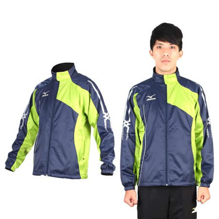 (男) MIZUNO 風衣外套- 慢跑 路跑 防風 立領 美津濃 丈青綠