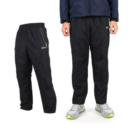 (男) FIRESTAR 防風防水長褲 -保暖 刷毛 黑螢光綠