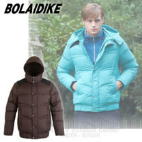 【波萊迪克bolaidike】男新款 立體輕量防潑水透氣保暖羽絨外套(帽可拆)/TF052 咖啡