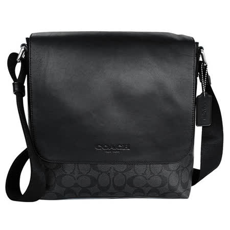 COACH 黑色真皮拼接C Logo翻蓋男用方型斜背包