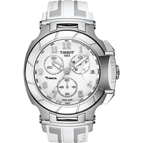 TISSOT T~RACE 急速計時腕錶~白45mm T0484171701200