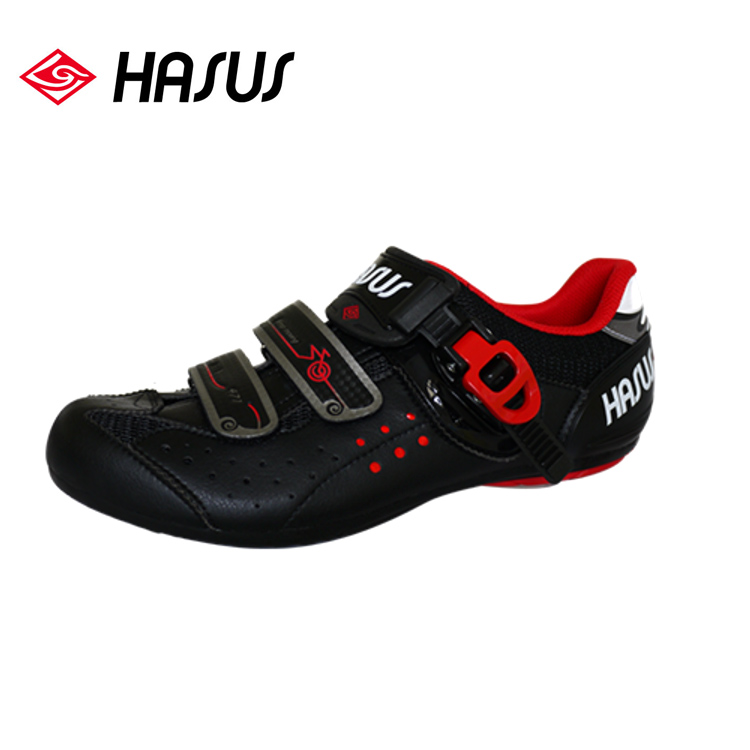 Hasus 悠活樂活非卡式自行車鞋HKM01~BLR 黑紅城市綠洲^(黑鷹、快扣、硬底子、