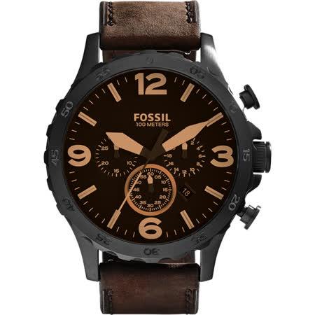 FOSSIL Nate 世紀戰神三眼計時腕錶-咖啡/50mm JR1487