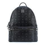 MCM Stark新款經典滿版logo鉚釘飾邊後背包-中/黑色