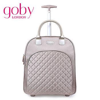 goby果比18吋兩輪多功能手提小拉桿箱(萬向輪女性登機行李箱)-香檳金