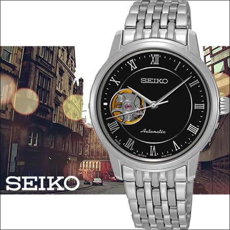 SEIKO Presage 經典羅馬開芯機械女用腕錶-黑/34mm/4R38-01A0D(SSA855J1)