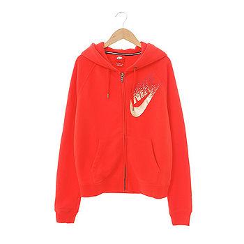 Nike (女)棉質-運動外套(連帽)-橘紅-678845696