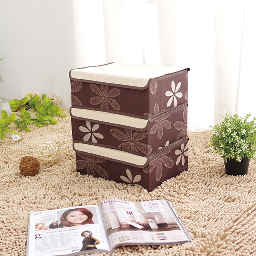 多功能附蓋收納盒三件組高檔品質~6、8、18格~咖啡褐