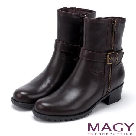 MAGY 紐約時尚步調 復古率性牛皮拉鍊粗跟短靴-咖啡