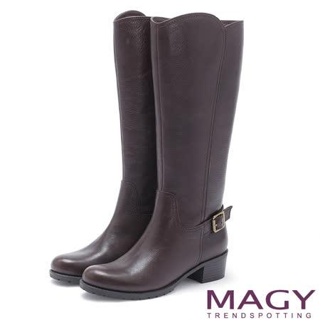 MAGY 街頭騎士風 牛皮造型拉鍊低跟長靴-咖啡