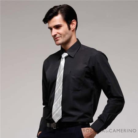 ROBERTA諾貝達 進口素材 台灣製 紳士嚴選 簡約條紋長袖襯衫 RDB80-99黑色