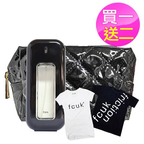 FCUK 3 HIM 男性淡香水 100ml送同品牌潮T+E炫黑化妝包