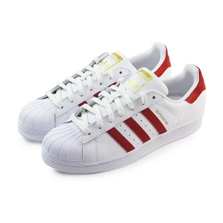 (男女)ADIDAS SUPERSTAR FOUNDATION 休閒鞋 白/紅-B27139
