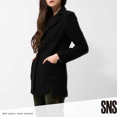 SNS 雙層開襟黑色長版大衣-黑