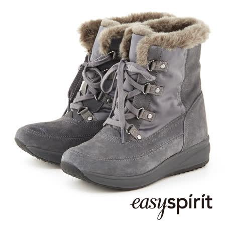 Easy Spirit--摩登型格綁帶坡跟毛料中筒靴--舒適灰