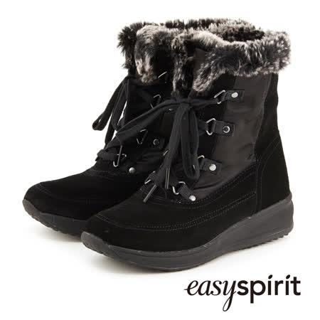 Easy Spirit--摩登型格綁帶坡跟毛料中筒靴--經典黑