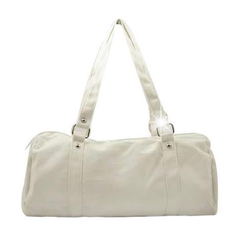 【justlove】帆布搭牛仔褲牛仔裙休閒上學購物旅行袋肩背手提獨家圓筒包(白 PG-0321)