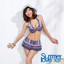 【SUMMERLOVE夏之戀】英倫風比基尼三件式泳衣(E15728)
