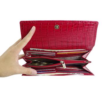 Sika義大利時尚真皮掀翻式鱷魚紋壓扣長夾S8284-04魅惑紅