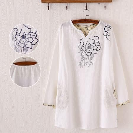 【MIDORI╭。綠】中國風牡丹刺繡白色長袖上衣FD300
