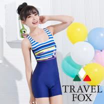【夏之戀TRAVEL FOX】度假風連身四角泳裝-大尺碼(C15713)