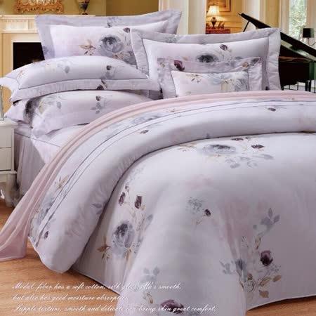 SHINEE 天然木漿纖維《水墨花香》雙人100%天絲四件式兩用被床包組