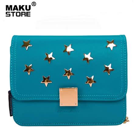 【MAKU STORE】秋冬新款小香風星星釘鏈條單肩迷你斜背包-孔雀藍