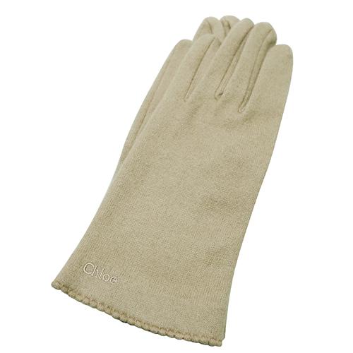 chloe 波浪邊造型喀克什米爾羊毛手套(卡其色)