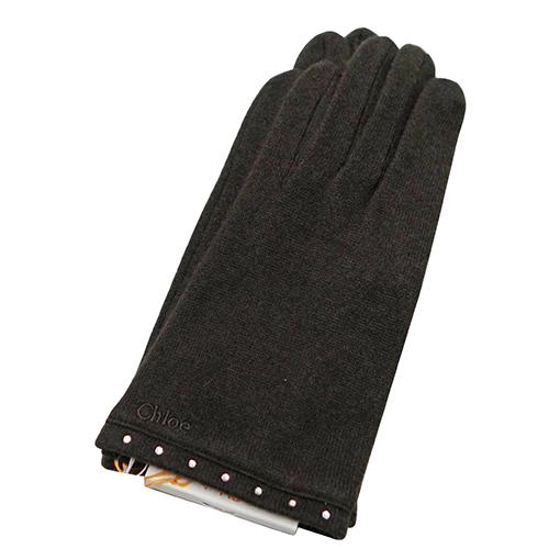 chloe 水鑽造型混喀什米爾羊毛手套(咖啡色)
