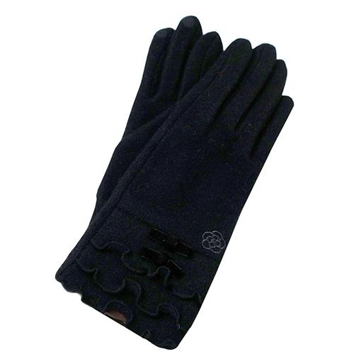 CLATHAS  山茶花刺繡荷葉邊安哥拉毛尼手套(黑色)