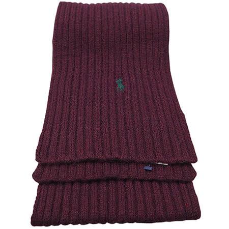 POLO RALPH LAUREN 經典logo麻花造型羊毛圍巾(酒紅色)