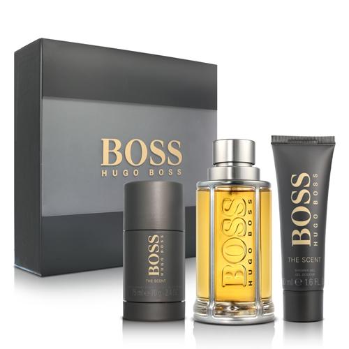 BOSS 紳士男性淡香水禮盒(淡香水100ml+體香膏75ml+沐浴精50ml)