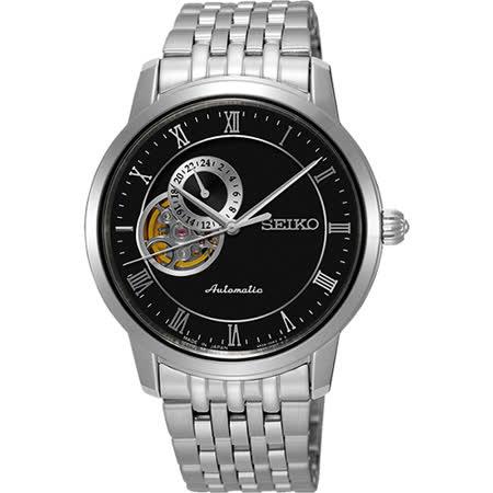 SEIKO Presage 24小時顯示開芯機械錶-黑/39mm 4R39-00M0D(SSA271J1)